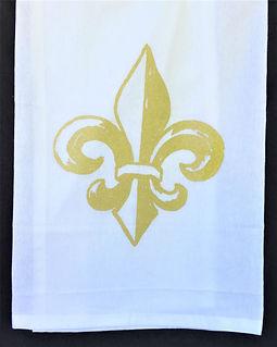 FLEUR DE LIS TEA TOWEL GOLD