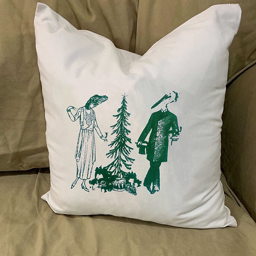 ALLIGATOR AND PELICAN DO CHRISTMAS PILLOW WITH FEATHER INSERT