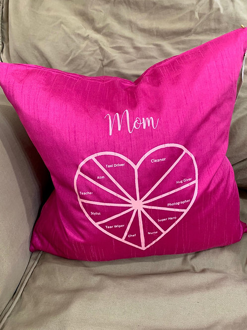Mom Pie Chart Pillow with Feather insert