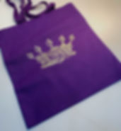 GOLD CROWN ON PURPLE TOTE BAG