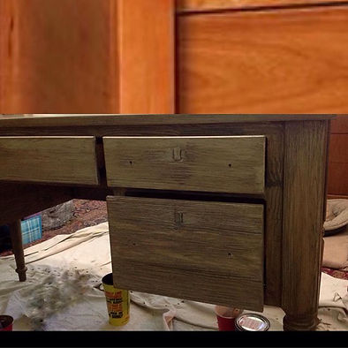 Desk on Bottom after Faux Finishing by Monique Perry