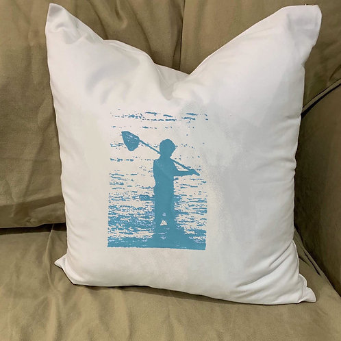 BOY FISHING ON BEACH WITH NET PILLOW WITH FEATHER INSERT