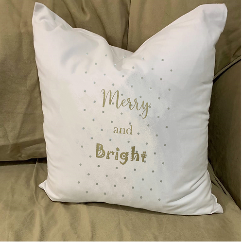 MERRY AND BRIGHT PILLOW WITH FEATHER INSERT