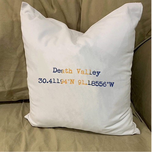 DEATH VALLEY COORDINATES PILLOW WITH FEATHER INSERT