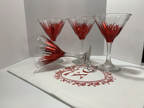 HAND-LEAFED MARTINI GLASS  (1 glass)