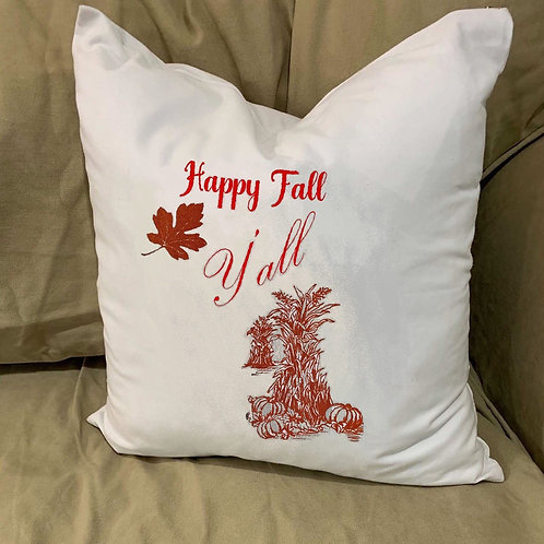 HAPPY FALL Y'ALL PILLOW WITH FEATHER INSERT