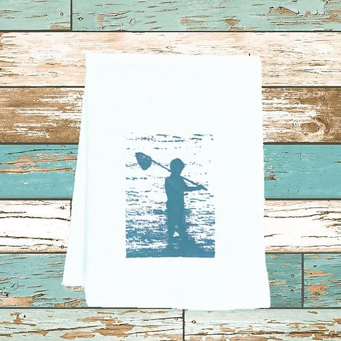 BOY FISHING ON BEACH WITH NET TEA TOWEL