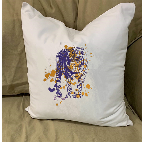 TIGER SPLATTER WITH MASK PILLOW WITH FEATHER INSERT