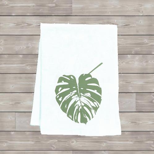 MONSTERA LEAF TEA TOWEL ( SWISS CHEESE PLANT LEAF )