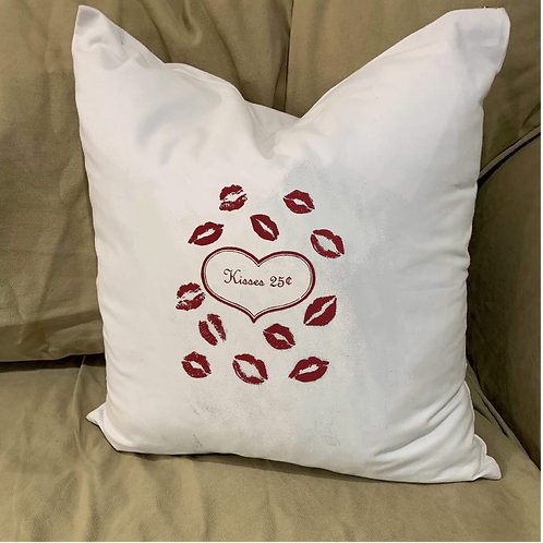 BE MY VALENTINE KISSES PILLOW WITH FEATHER INSERT