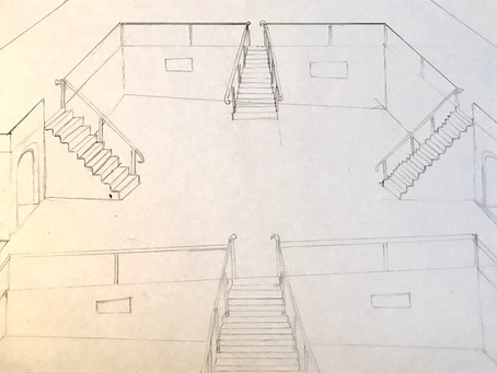 "First sketch of new drawing ""The Staircase"""