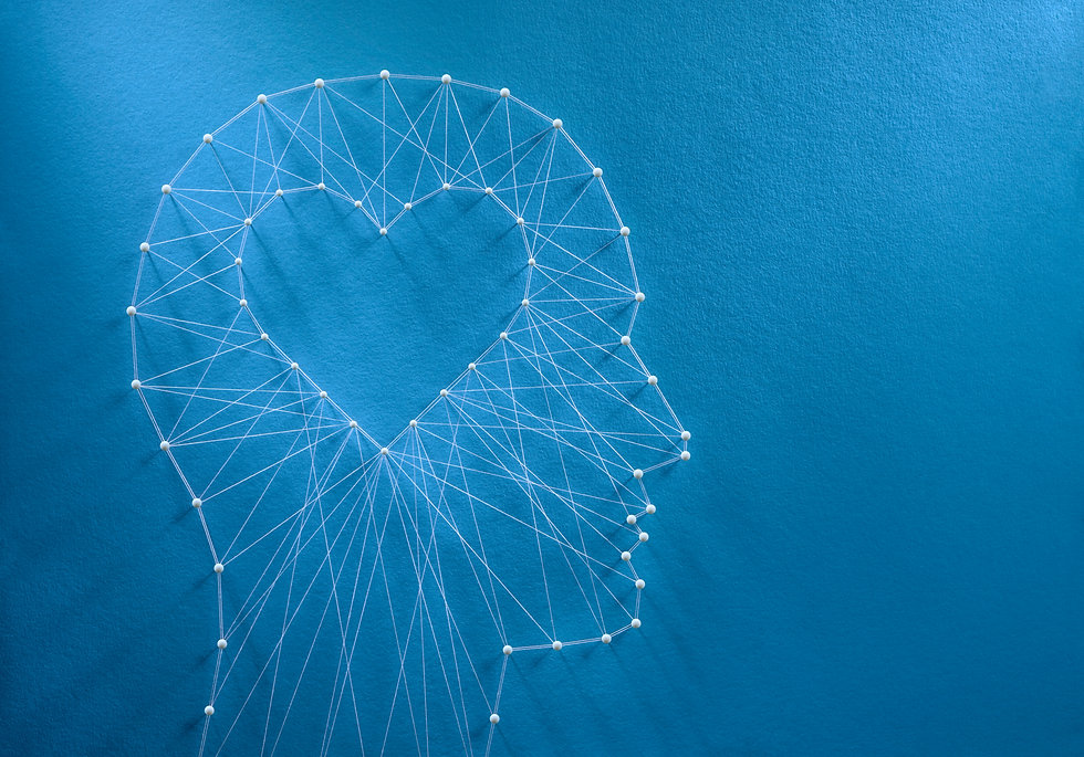 Learning to love concept. Network of pins and threads in the shape of a cut out heart insi