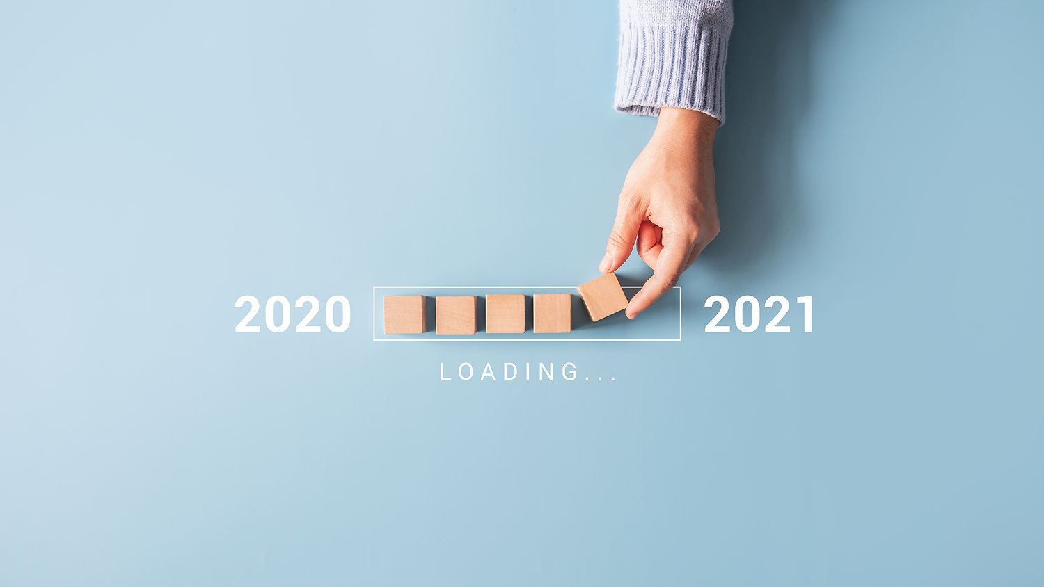 Loading new year 2020 to 2021 with hand