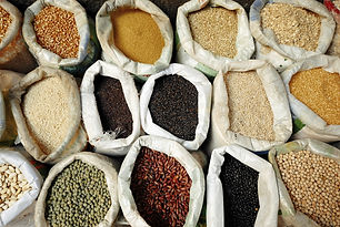 Sacks Of Healthy Legumes And Grains Conc