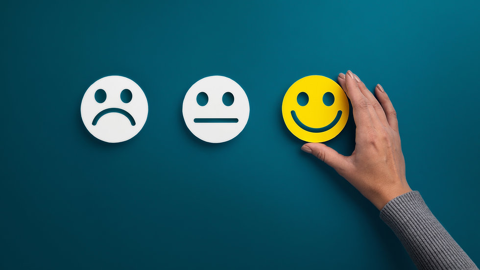Rating concept. Woman choosing happy smile face emotion on blue background, panorama, copy