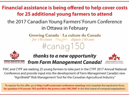 Sponsorship Available for Young Farmers Seeking to Attend the Canadian Young Farmers Forum (Ottawa,