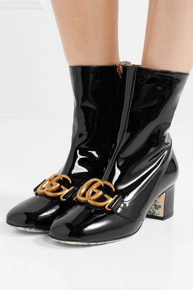 07f6d085dfd GUCCI - Victoire logo-embellished patent-leather ankle boots
