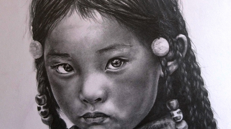 Original Drawing - Tibetan Child