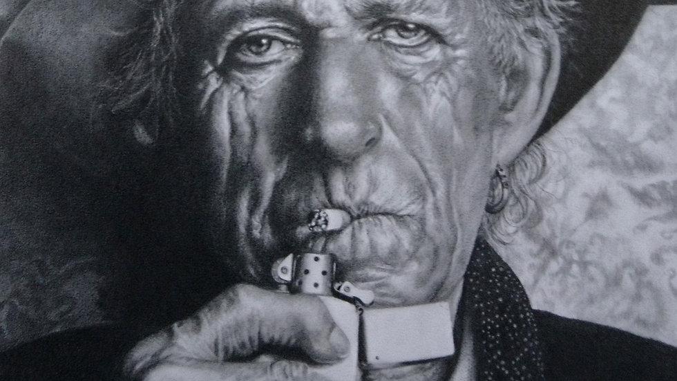 Original Drawing - Portrait of Kieth Richards