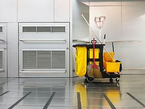 Cleaning tools cart parked walkway..jpg