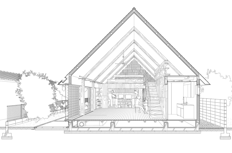 Eine Karikatur des Paulownia Hinge House in Tokio.
