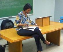 Prof Thomas CAU prepping for class