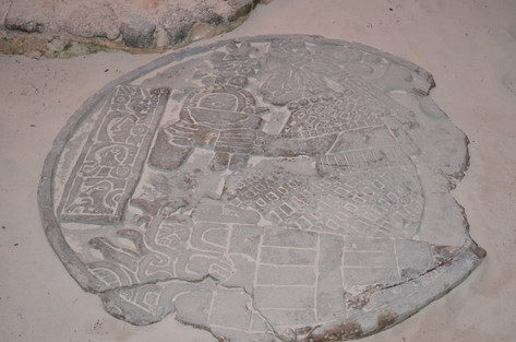 Mayan art in the sand