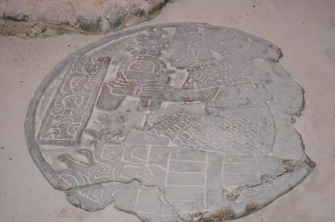 Mayan art in the sand