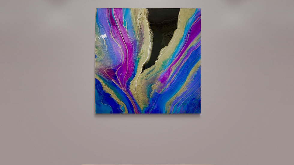 """""""Stream of Dreams"""" 70cm by 70cm Resin on Canvas"""
