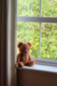 lone-brown-teddy-bear-sitting-on-window-