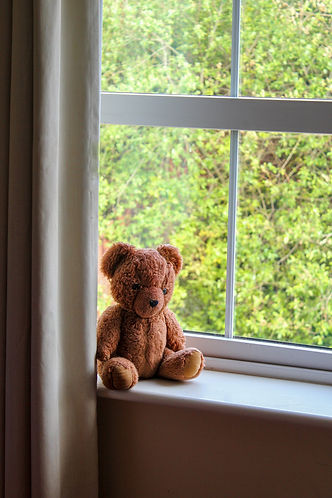 lone-brown-teddy-bear-sitting-on-window-