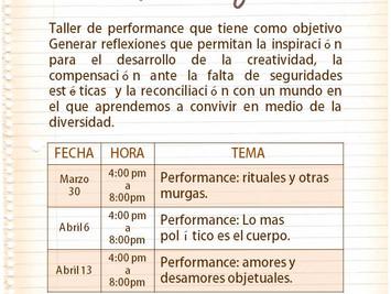 Taller de performance con Juan Ricardo Urrego