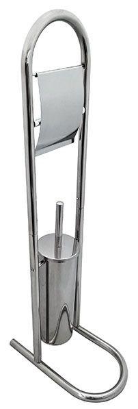 Ершик туалетный напольный на стойке, с держателем туалетной бумаги G-teq 02.36