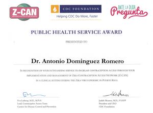 Certificado de reconocimiento por servicio público de salud otorgado por la CDC Foundation