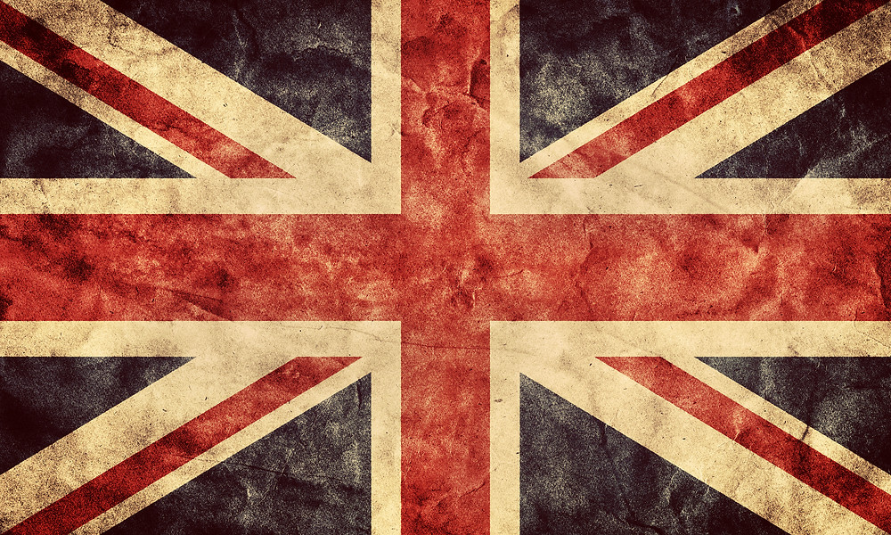 The United Kingdom or Union Jack grunge flag. Vintage, retro style. High resolut