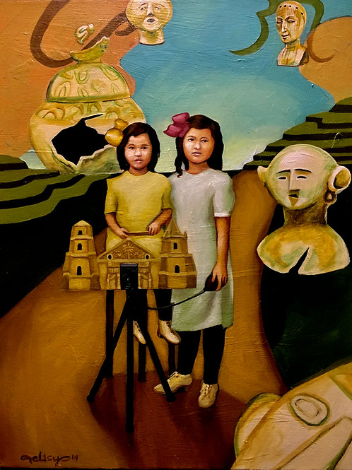 "Two Girls with a Camera (18"" x 24"") Giclee on Canvas"