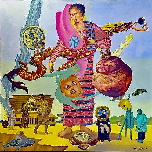 "Visayan Viajeros (Homage to Damian Domingo) 36"" x 36"" Giclee on Canvas"