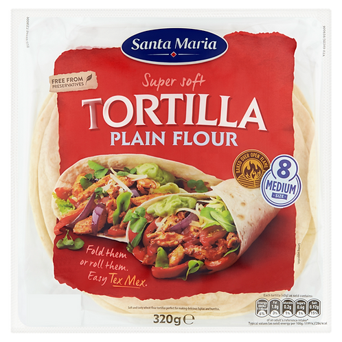 TORTILLA WRAPS 320G (8 PER PACK) 8 INCH