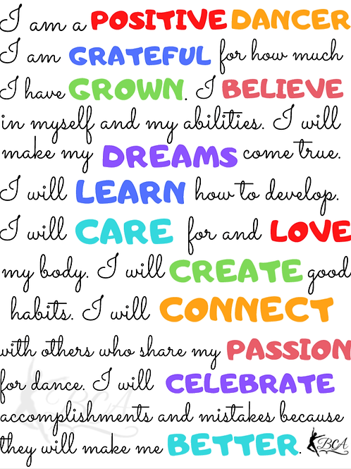 Positive Dancer Mindset Self Talk Print out
