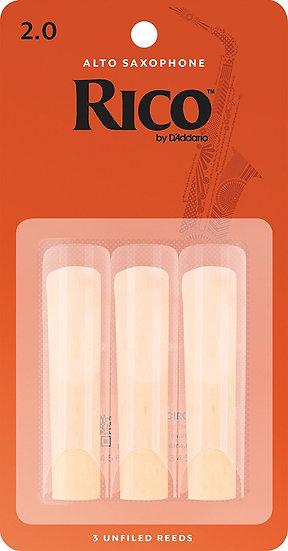D'Addario Woodwinds Alto Sax Reeds, Strength 2, 3-pack