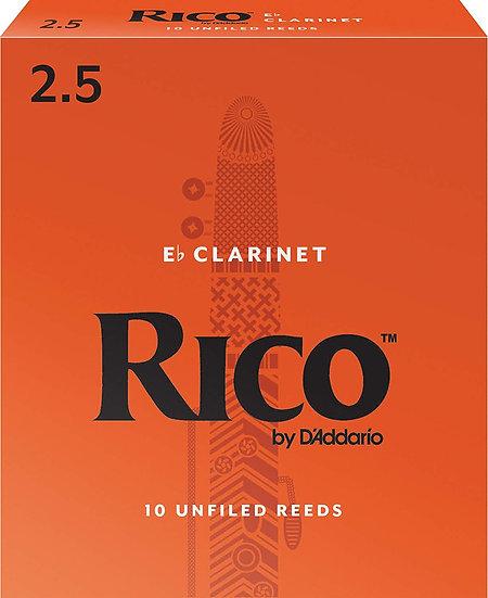 Rico Eb Clarinet Reeds, Strength 2.5, 3-pack