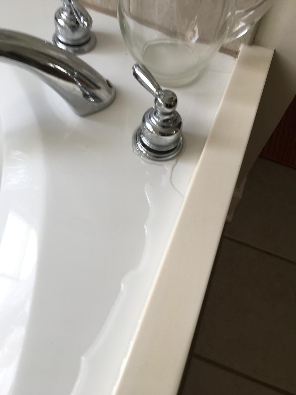 Leaking bathroom tub handle