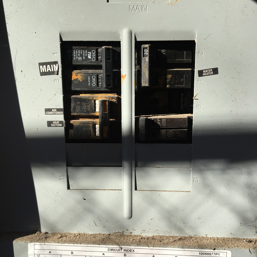 exposed wiring in panel