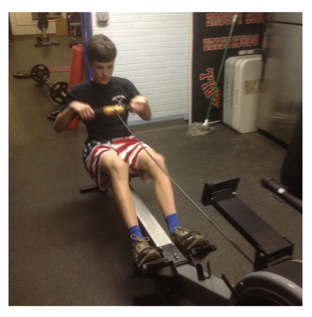 Griffin on the Rowing Machine