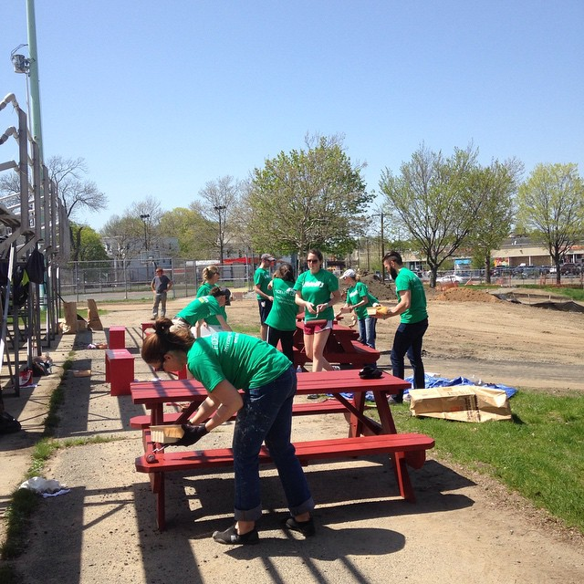 New picnic tables courtesy of Fidelity and Boston Cares!!