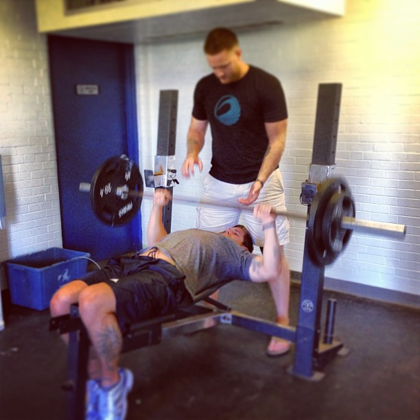 Coach Shane giving _mark0166 a spot! #ADSL #Dorchester #Boston #Lifting #WorkOut #Fitness