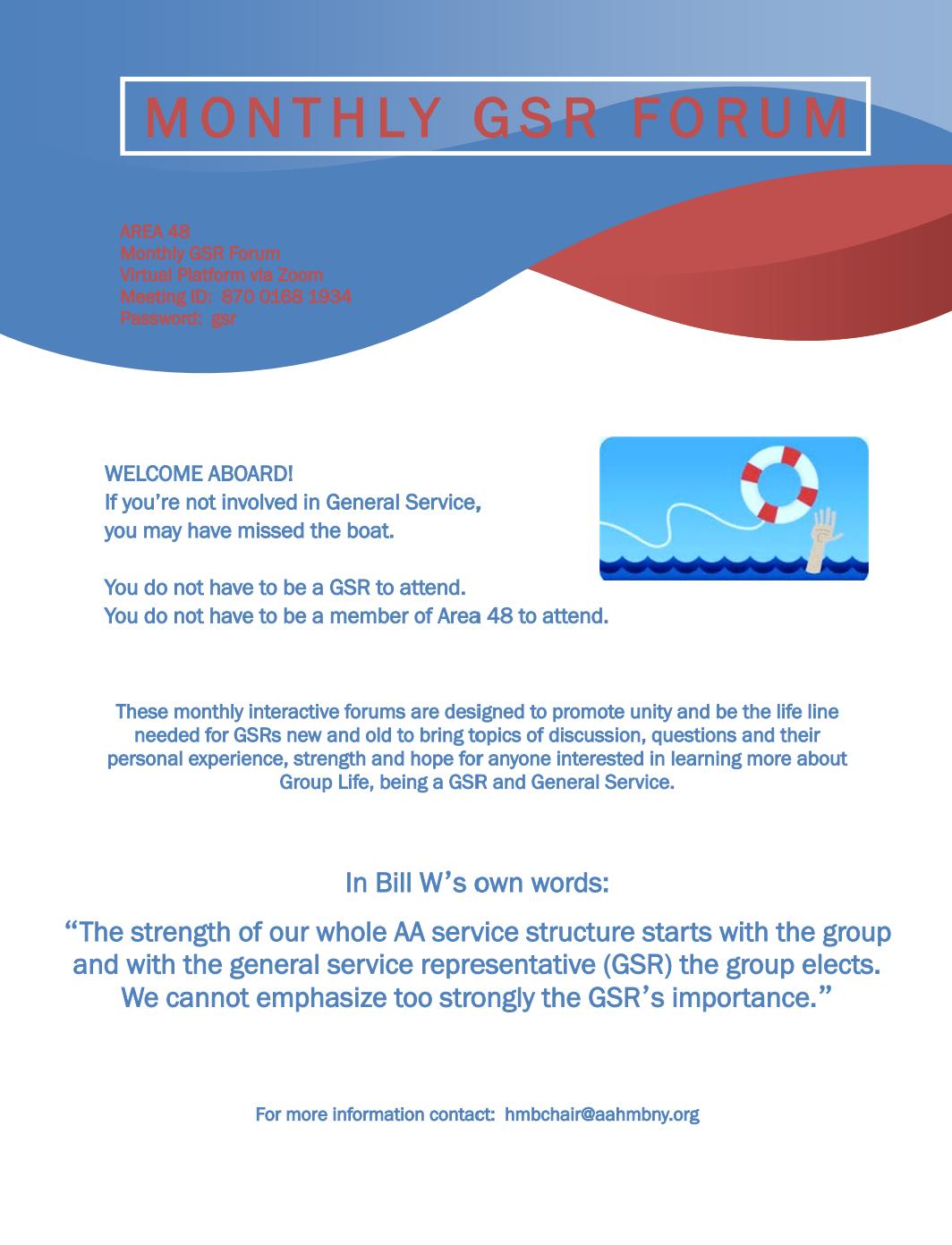 Monthly GSR Forum