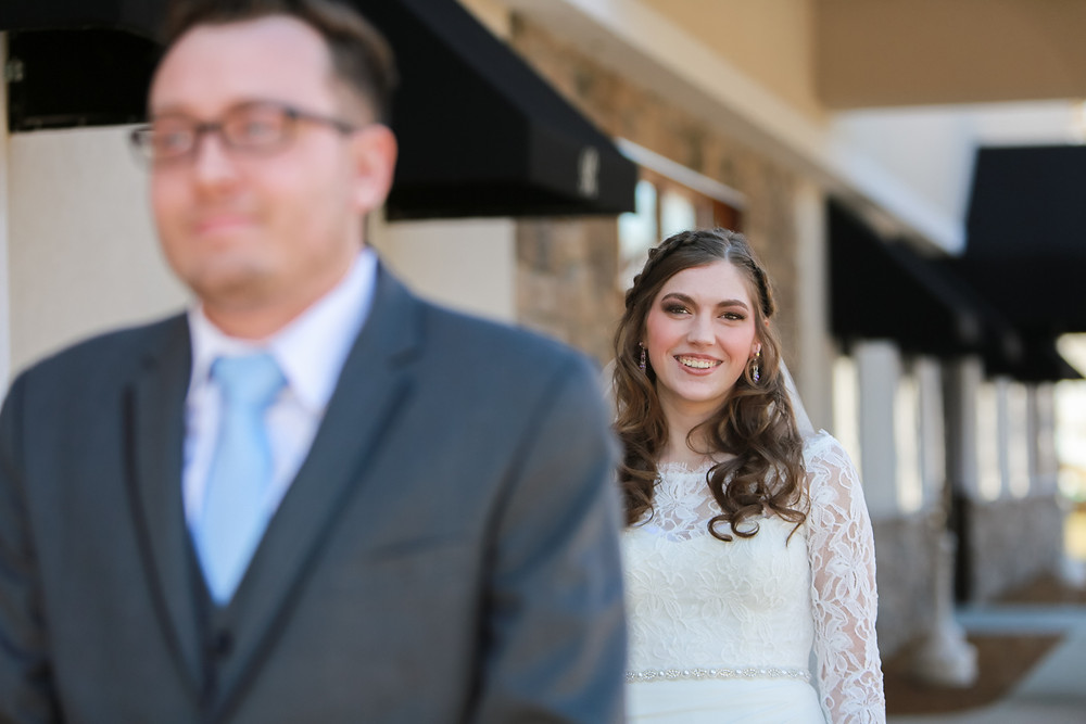 First look with bride and groom, Peru Indiana by Miss Cara Photography