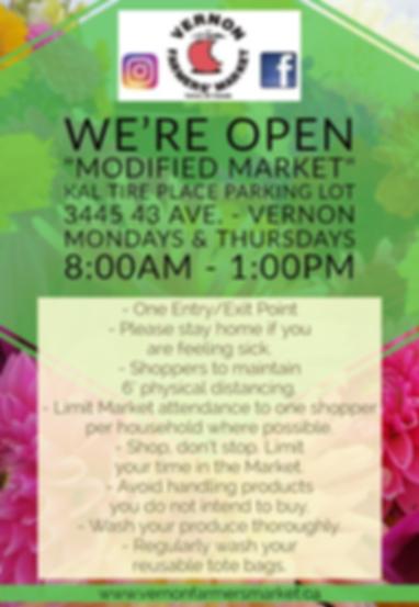 Vernon Farmers Market Summer 2020 COVID flyer