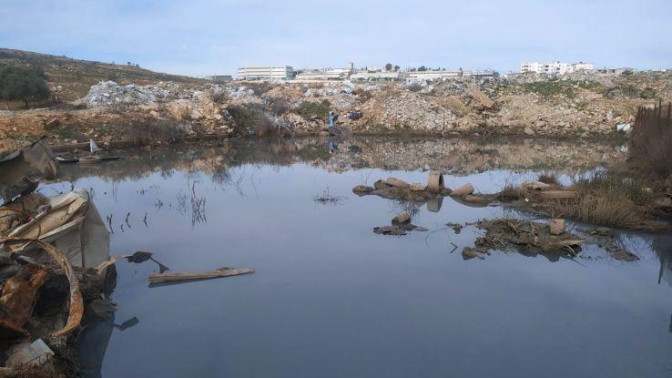 Sewage basin in East Jerusalem